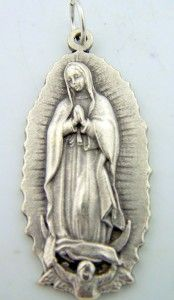 New Our Lady of Guadalupe Pendant Charm Medal Silver Gild Patron of