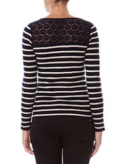 Kookai Lace insert breton sweater Dark Blue