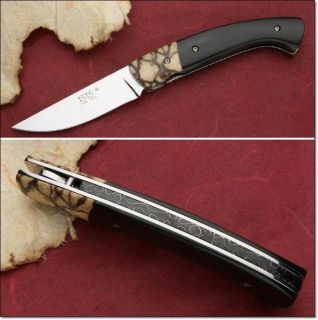 Thiers 1515 Manu Laplace Folding Knife Coral Tiger Buffalo Horn