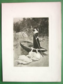 Young Lady of Lake in Boat Swans Victorian Antique Print