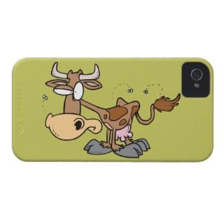silly cute brown cow bugged by flies cartoon iPhone 4 cases