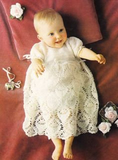 Lacy Christening Gown 2ply Baby Crochet Pattern