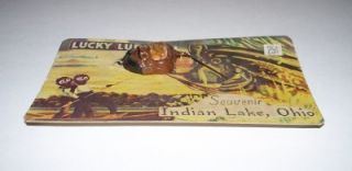 Lucky Black Americana Fishing Lure on Card Indian Lake Ohio