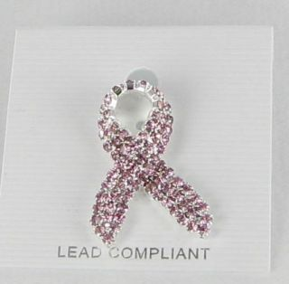 New Breast Cancer Awareness Lapel Pin Rhinestones Dusty Pink Ribbon