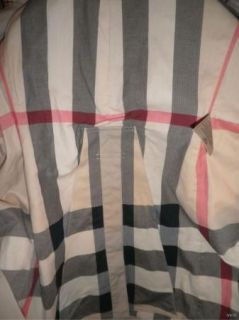 Burberry Brit $895 Langford Trench Coat Classic Plaid Lining Size 10