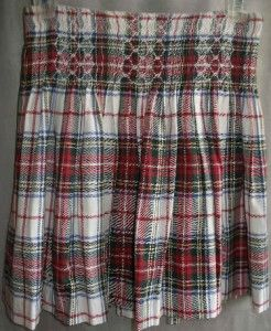 Lands End Girls 12 Christmas Plaid Smocked Embroidered Pleated Cotton