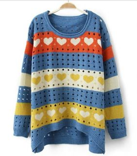 Korea Fashion Womens Hollow Candy Colore Long Sleeved Loose Round Neck