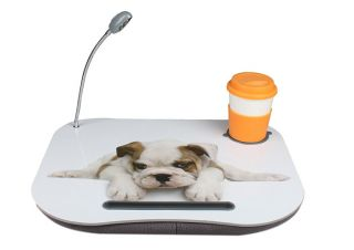 New Portable Cute Dog Laptop Lap Desk w LED Light Drink Holder Foam