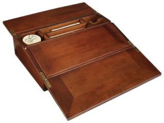 19th C Antique Wood Campaign Folding Lap Desk Writing Box