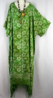 New Green Floral Fringe Caftan Kaftan Dress Hippy Boho Plus Size 3X 4X