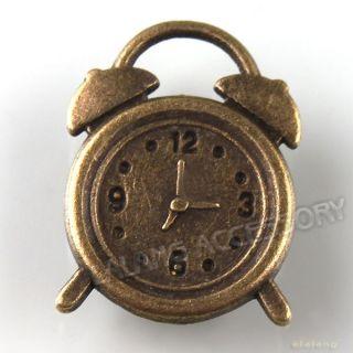 50x Antique Bronze Charms Clock Pendants Fit Necklaces Bracelets 17mm