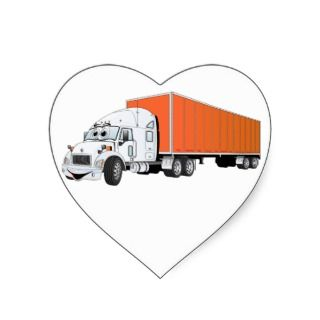 Semi Truck White Orange Trailer Cartoon Stickers