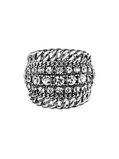 Dyrberg Kern Rika Shiny Silver Crystal Ring Silver
