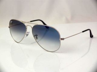 RAY BAN LARGE METAL AVIATOR SUNGLASSES SILVER FRAME LIGHT BLUE LENS