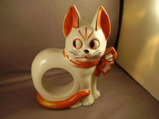 Charming German Art Deco Large Cat HP Figurine