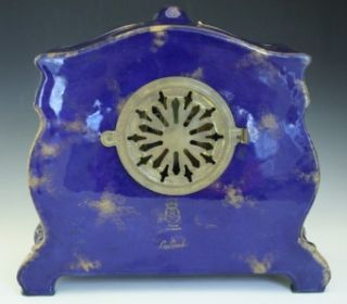 ANSONIA ROYAL BONN PORCELAIN CASE CLOCK LA LANDES W/ VIOLETS NoR