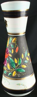 Vintage Hand Painted Belgian Majolica Vase by Bequet with Flowers in