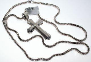 Diamond Cross Mens Large Pendant Charm 5ct Sterling Silver White Gold