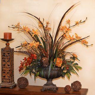 NEW LARGE SILK ARTIFICIAL ORCHID & FEATHERS FLOWER ARRANGEMENT