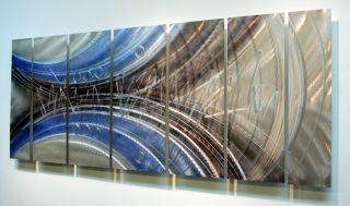 Large Silver Modern Abstract Metal Wall Art Decor Sculpture Blue
