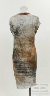 Helmut Lang Brown Abstract Print Draped Cowl Neck Dress Size Small