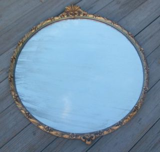 VINTAGE LARGE VICTORIAN ROUND ORNATE CARVED FLOWERS WOOD WALL MIRROR