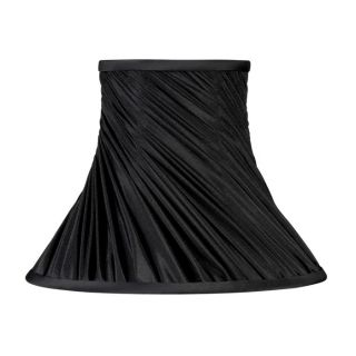 New 15 5 in Wide Bell Shaped Lamp Shade Black Faux Silk Fabric Laura
