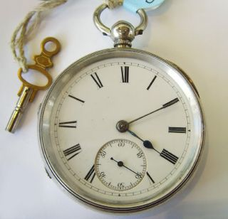 Mono Coin Silver Large Pocket Watch Open Face Runs
