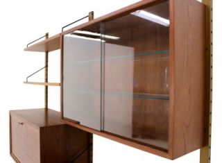 Danish Modern Cado Teak Wall Unit with A Secretary Desk Compartment