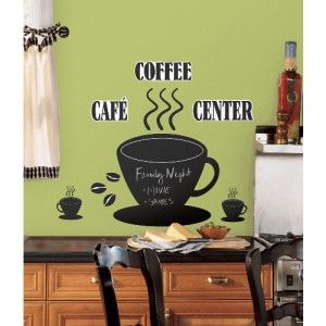 New Large Coffee Cup Chalkboard Wall Decals Kitchen Stickers Black