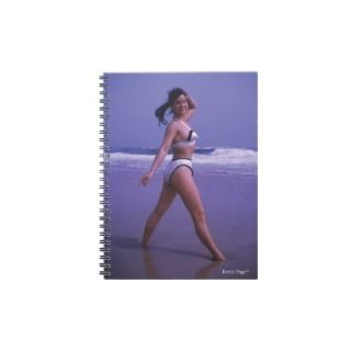 Bettie Page Pinup On The Beach in White Bikini Notebook