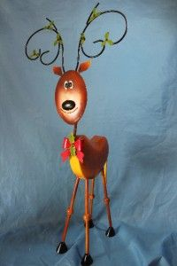 New Large Metal Reindeer Statue Sculpture 34 Tall Christmas Decor