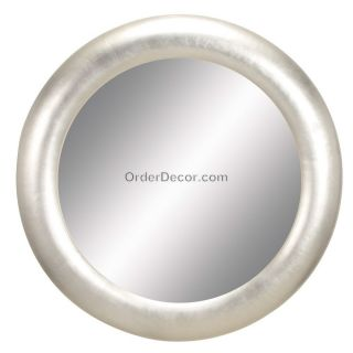 Large 32 Round Silver Wall Mirror Modern Contemporary