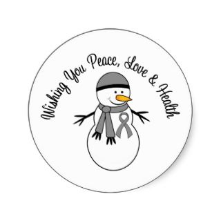 Christmas Snowman Brain Cancer Ribbon Stickers
