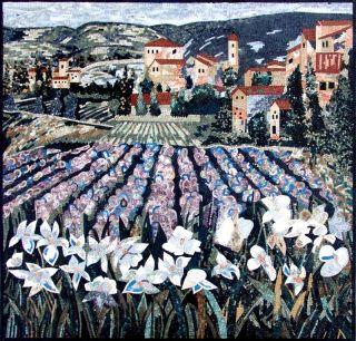 Flower Field Marble Mosaic Art Tile Stones Mural