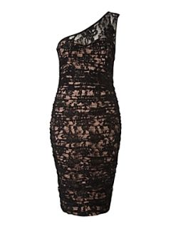 JS Collections One shoulder lace ruched dress Black
