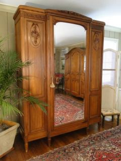 Country Armoire Wardrobe Carved Baskets Beveled Mirror 3 Door