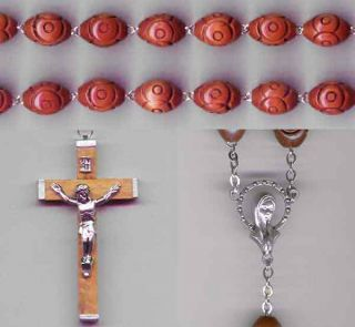 Large Carved Wooden Bead Wall Rosary Relic Medal