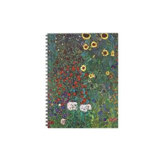 Gustav Klimt Farm Garden With Sunflowers Spiral Note Books