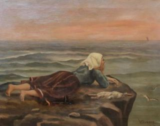 Lattimore Signed Original Antique 1800s Oil Painting Seascape Woman