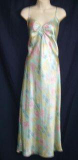 Aqua Green Satin Floral Long Nightgown Pink Yellow Blue Flowers Medium