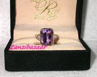 Laura Ramsey 14k Yellow Gold Amethyst Diamond Ring