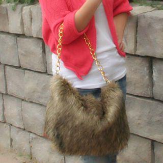 Fashion Animal Print Leopard Purse Faux Fur Chain Shoulder Bag Handbag
