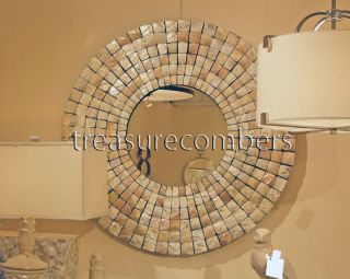 Large Round Capiz Shell Mosaic Wall Mirror Beach Coastal Modern