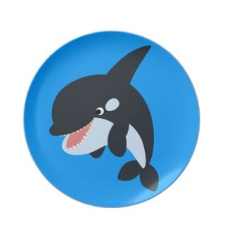 Cute Merry Cartoon Killer Whale Plate