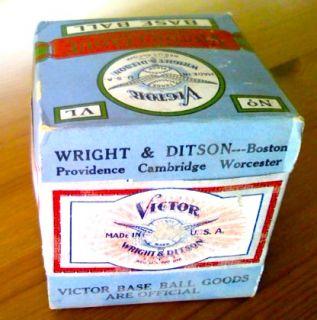 Rare 1920s Wright & Ditson Victor League Baseball Unopened in Original
