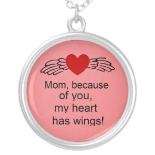 Mom, because of you, my heart has wings custom necklace