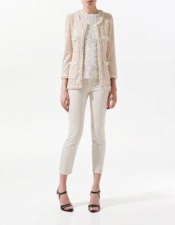 Zara Sequin Jacket Blazer with Sequins Size M Dusty Pink