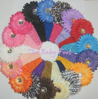 Wholesale Lot of 17 Crochet Headbands with Daisy Flower Hairbows
