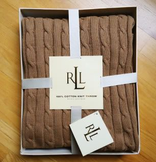 Ralph Lauren ~CABLE KNIT THROW BLANKET   CAMEL/TAN~ 50x70 gift box
